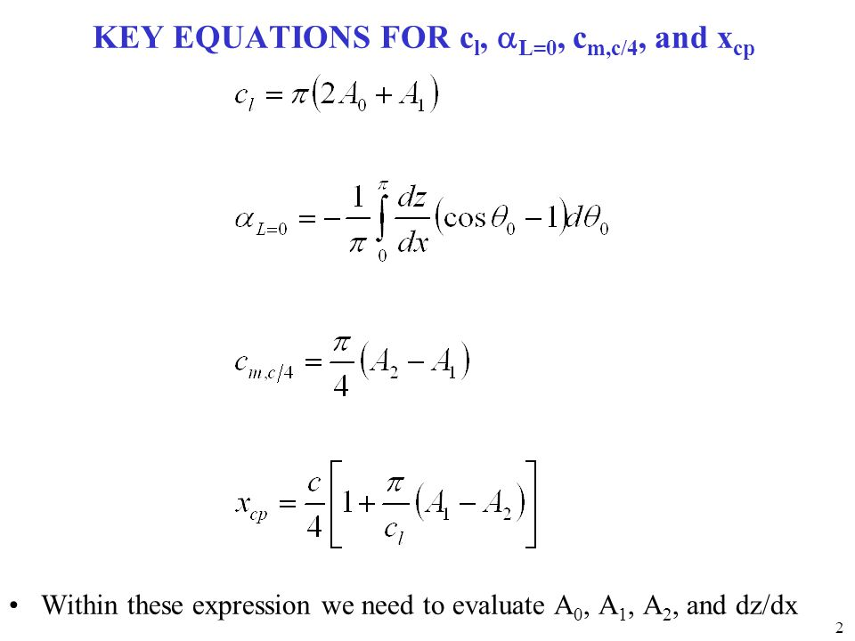 KEY EQUATIONS FOR cl, aL=0, cm,c/4, and xcp