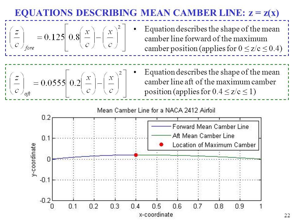 EQUATIONS DESCRIBING MEAN CAMBER LINE: z = z(x)
