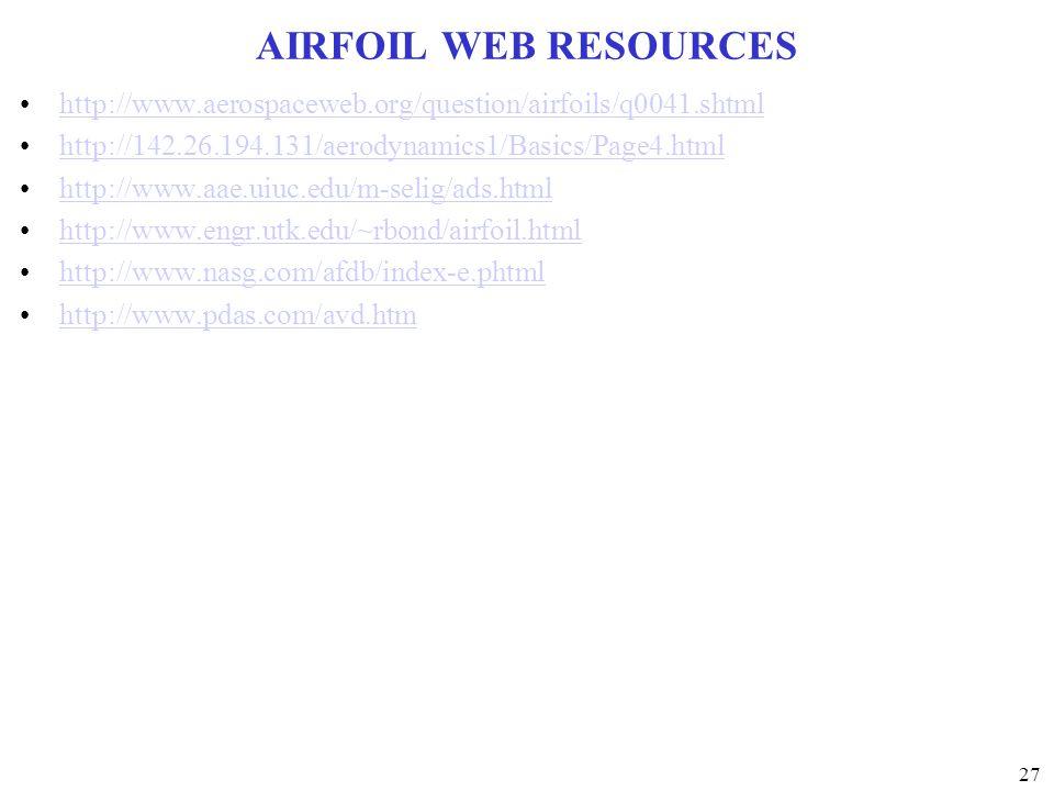 AIRFOIL WEB RESOURCES http://www.aerospaceweb.org/question/airfoils/q0041.shtml. http://142.26.194.131/aerodynamics1/Basics/Page4.html.