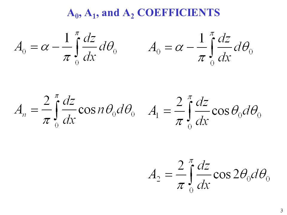A0, A1, and A2 COEFFICIENTS