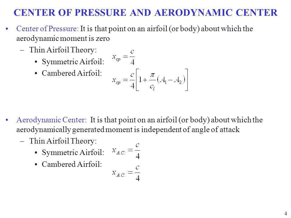 CENTER OF PRESSURE AND AERODYNAMIC CENTER