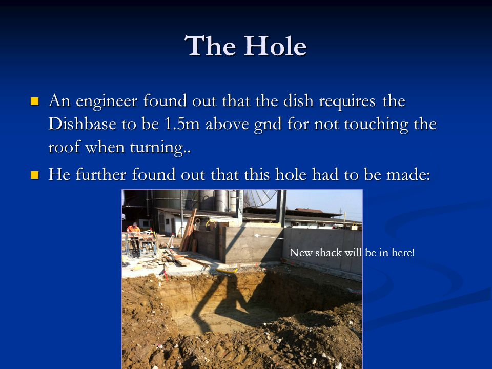 The Hole An engineer found out that the dish requires the Dishbase to be 1.5m above gnd for not touching the roof when turning..