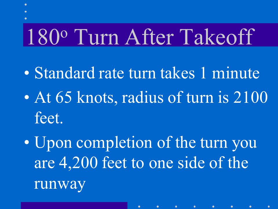 180o Turn After Takeoff Standard rate turn takes 1 minute