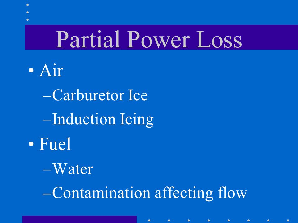 Partial Power Loss Air Fuel Carburetor Ice Induction Icing Water