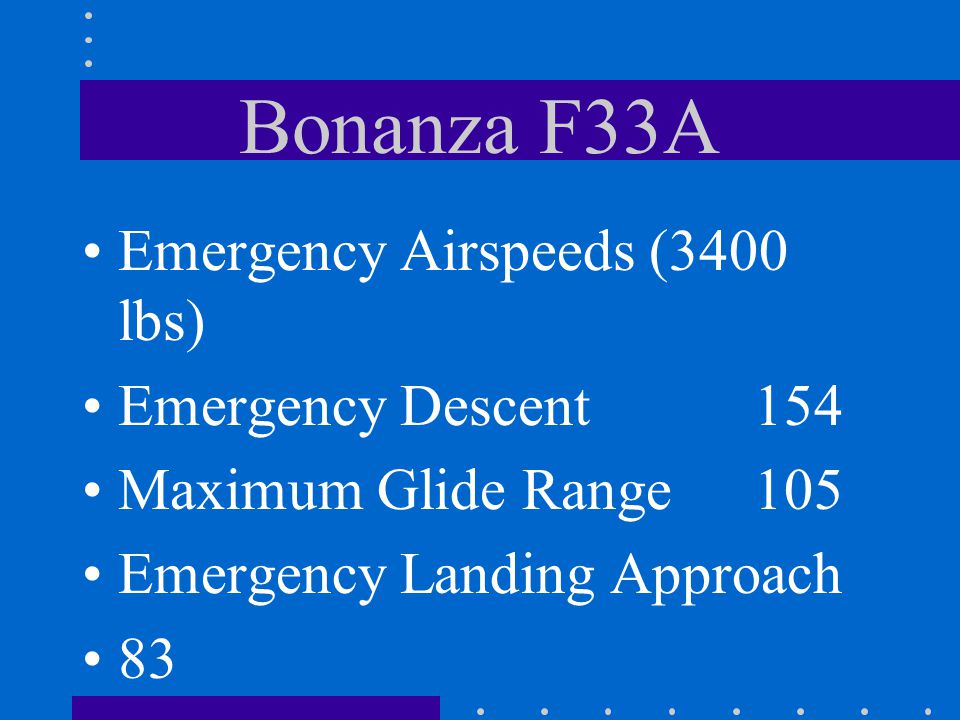 Bonanza F33A Emergency Airspeeds (3400 lbs) Emergency Descent 154
