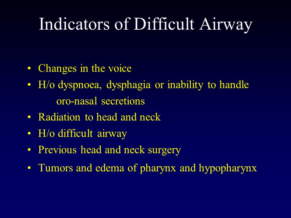 Indicators of Difficult Airway