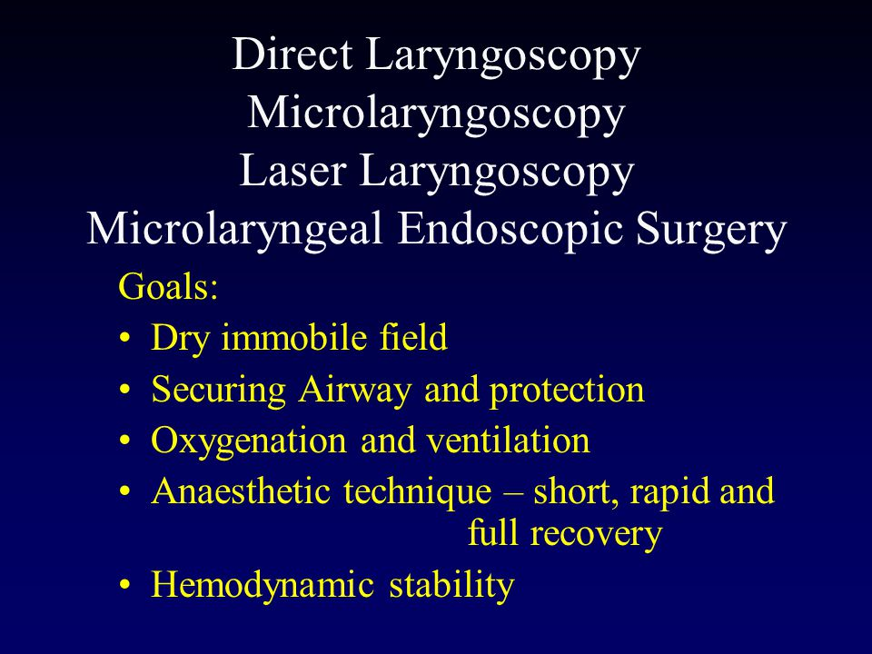 Direct Laryngoscopy Microlaryngoscopy Laser Laryngoscopy Microlaryngeal Endoscopic Surgery
