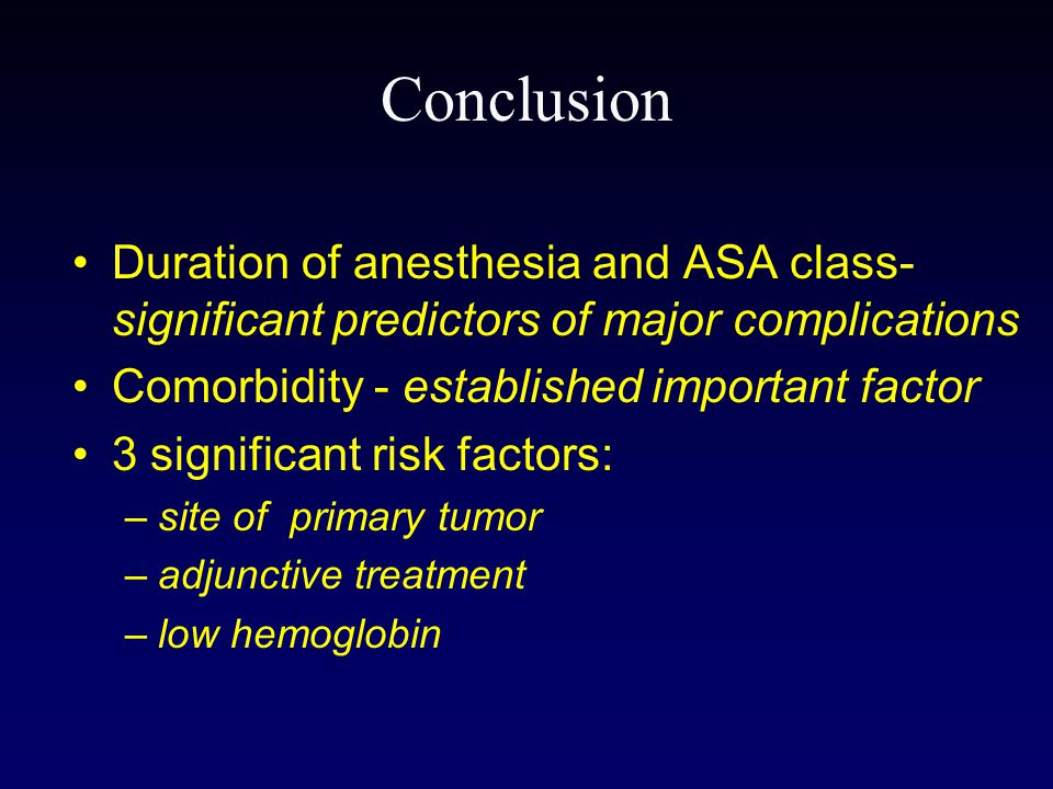 Conclusion Duration of anesthesia and ASA class- significant predictors of major complications. Comorbidity - established important factor.