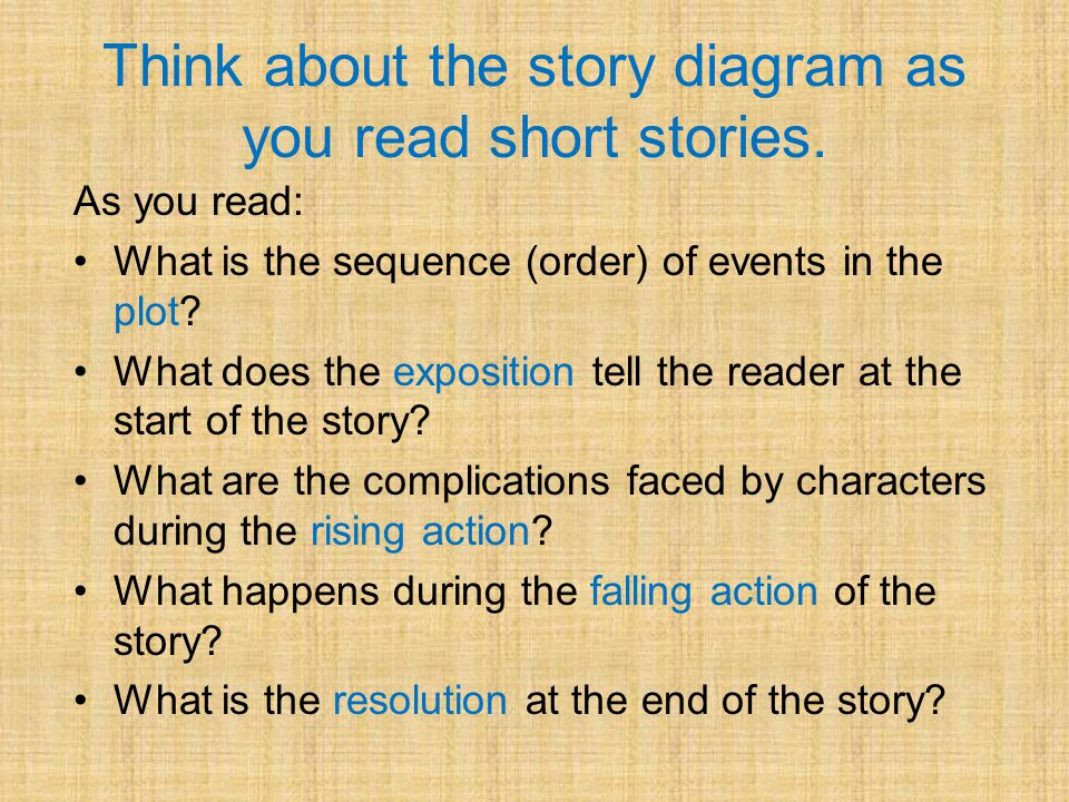 Think about the story diagram as you read short stories.