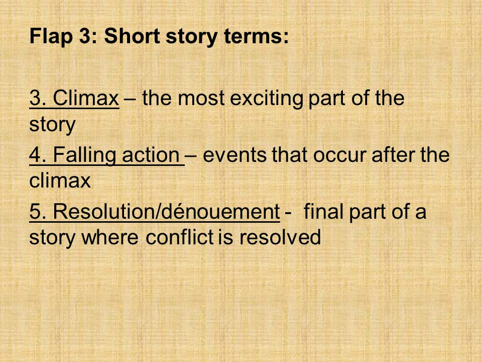 Flap 3: Short story terms: