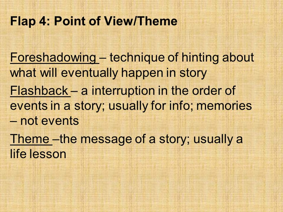Flap 4: Point of View/Theme