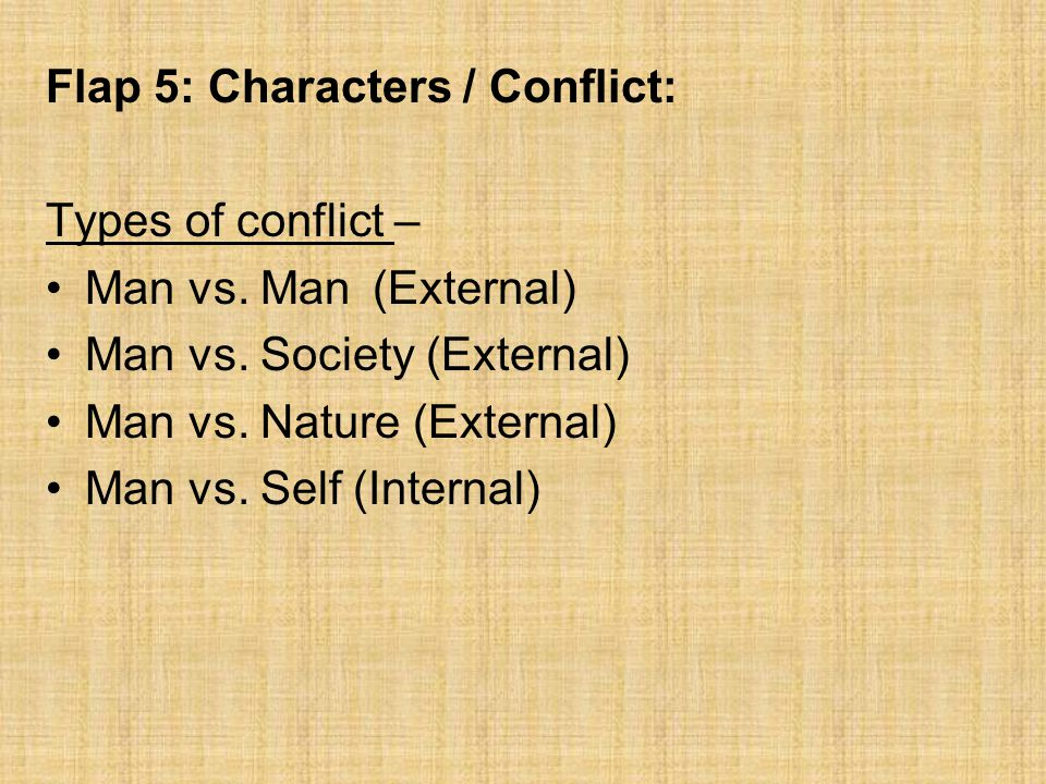 Flap 5: Characters / Conflict: