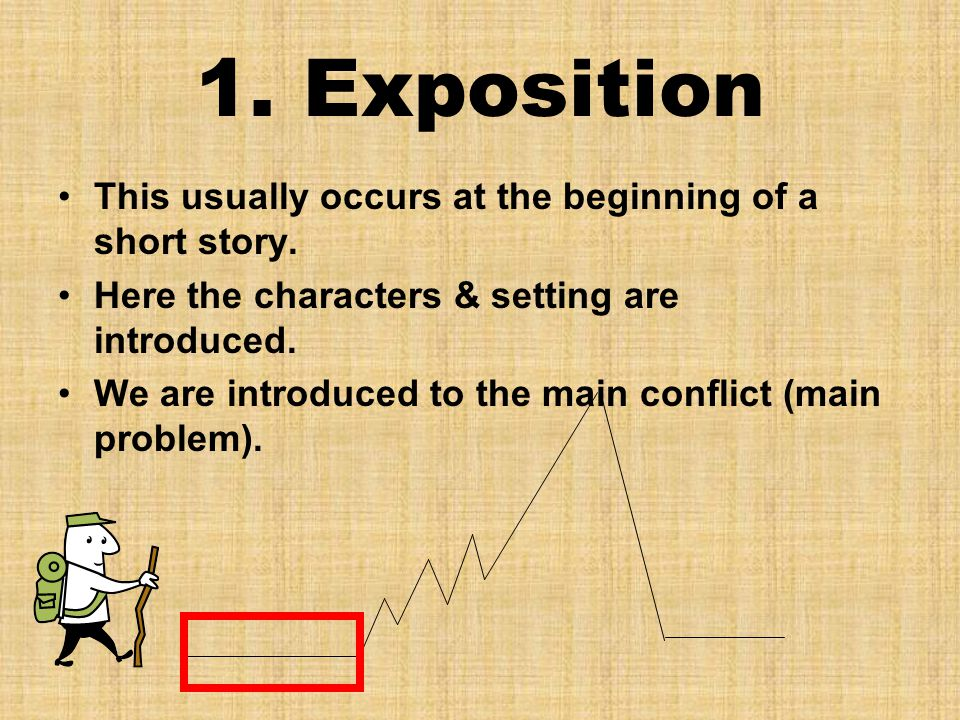 1. Exposition This usually occurs at the beginning of a short story.