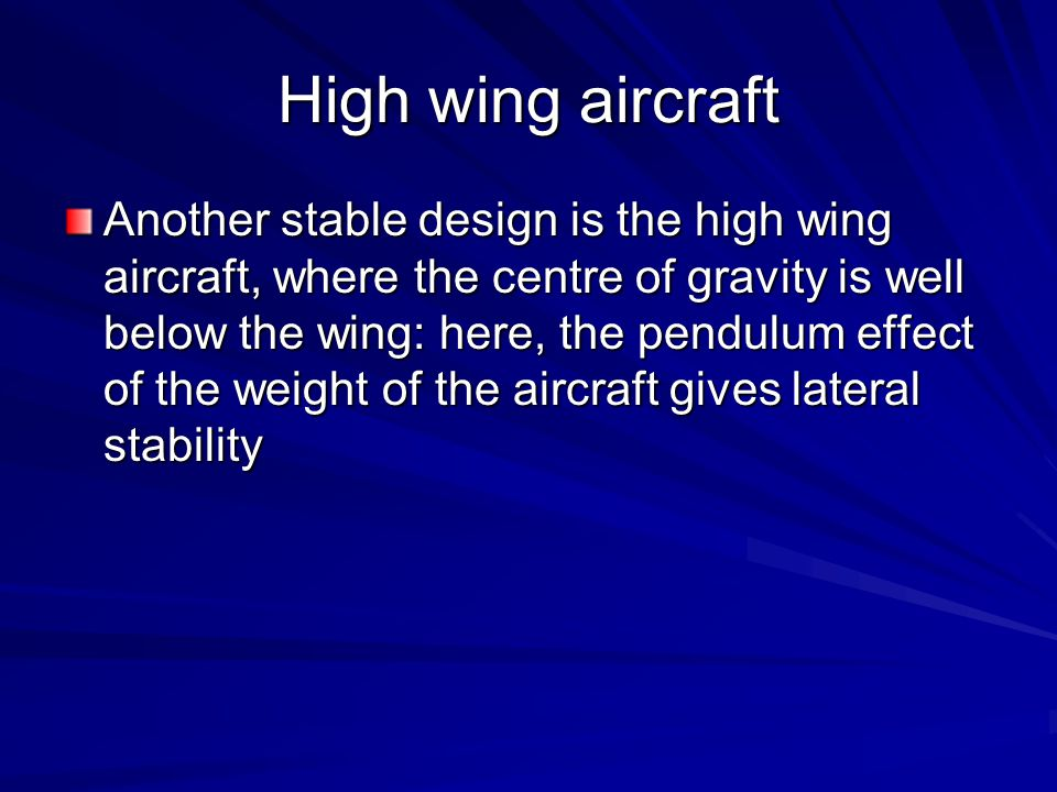 High wing aircraft