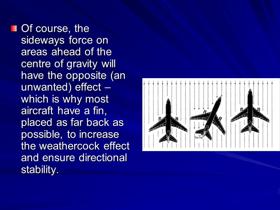 Of course, the sideways force on areas ahead of the centre of gravity will have the opposite (an unwanted) effect –which is why most aircraft have a fin, placed as far back as possible, to increase the weathercock effect and ensure directional stability.