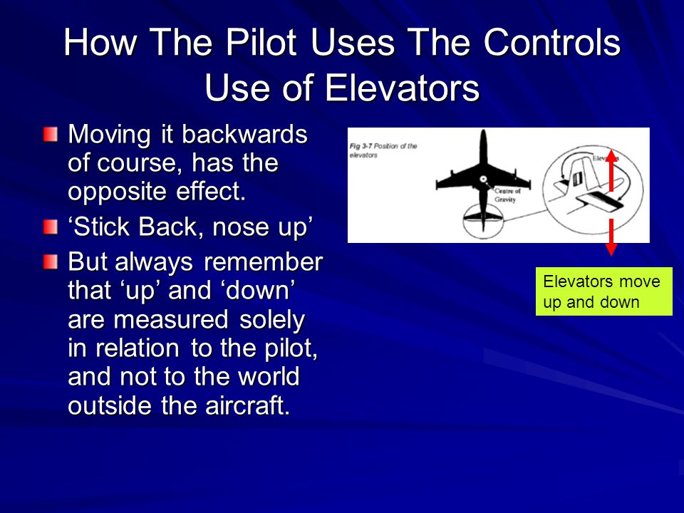 How The Pilot Uses The Controls Use of Elevators