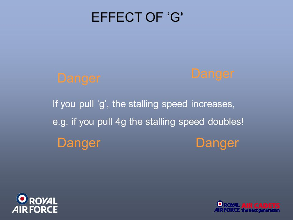EFFECT OF 'G' Danger If you pull 'g', the stalling speed increases,