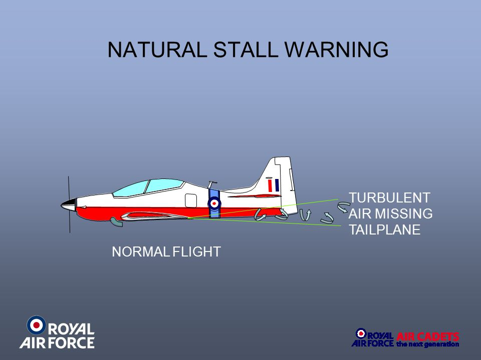 NATURAL STALL WARNING TURBULENT AIR MISSING TAILPLANE NORMAL FLIGHT