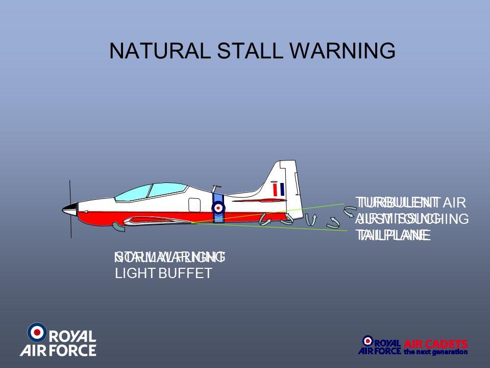 NATURAL STALL WARNING TURBULENT TURBULENT AIR AIR MISSING