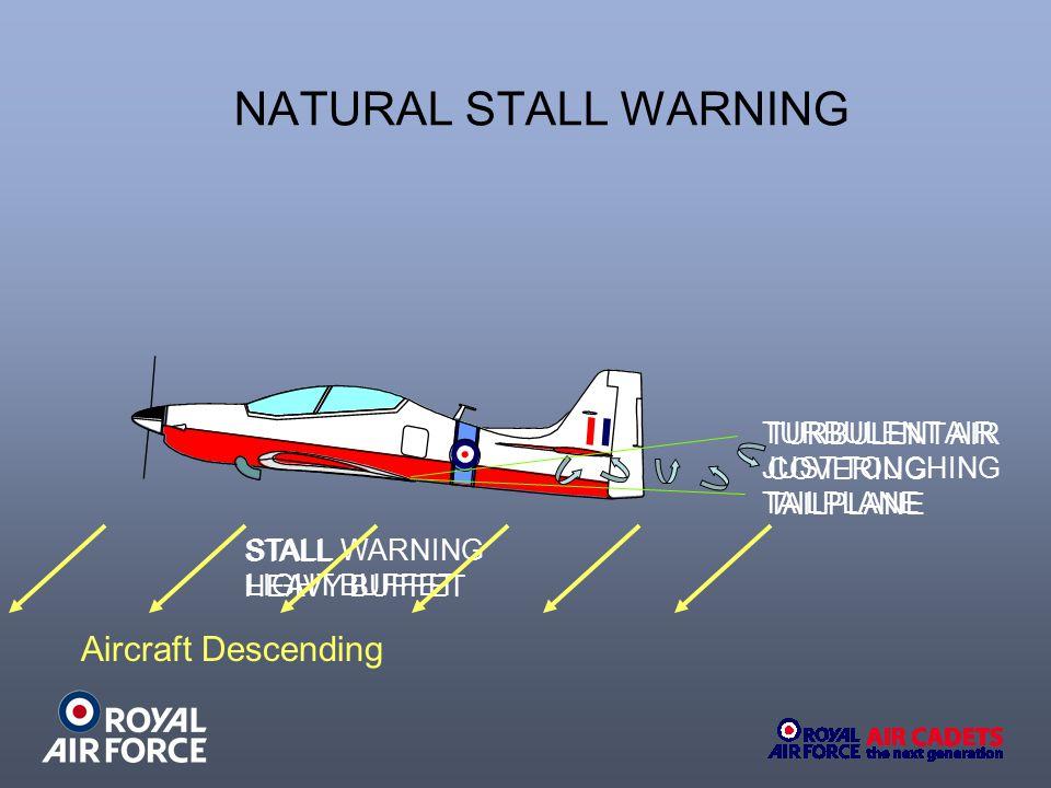 NATURAL STALL WARNING Aircraft Descending TURBULENT AIR TURBULENT AIR