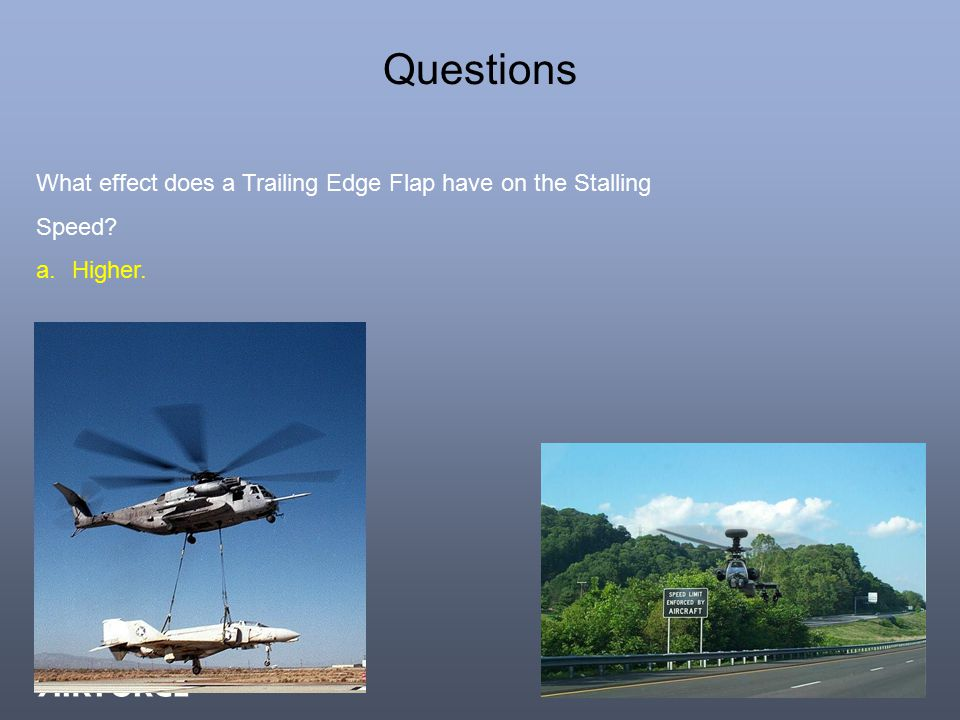 Questions What effect does a Trailing Edge Flap have on the Stalling