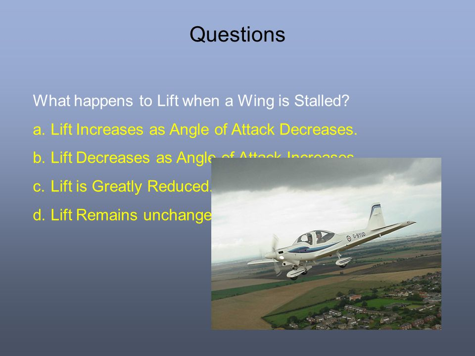 Questions What happens to Lift when a Wing is Stalled