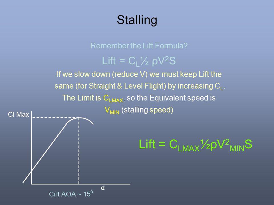 Stalling Lift = CLMAX½ρV2MINS Lift = CL½ ρV2S