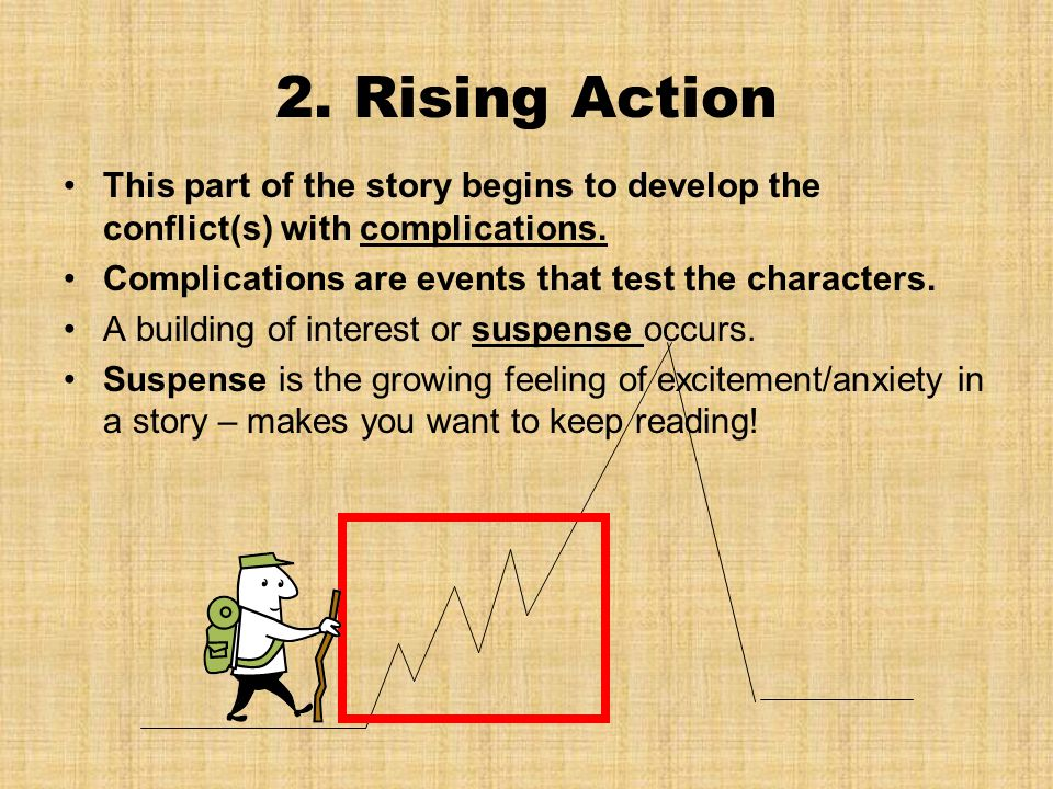 2. Rising Action This part of the story begins to develop the conflict(s) with complications. Complications are events that test the characters.