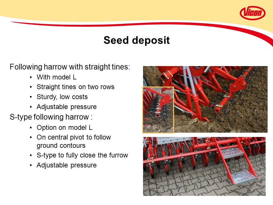 Seed deposit Following harrow with straight tines: