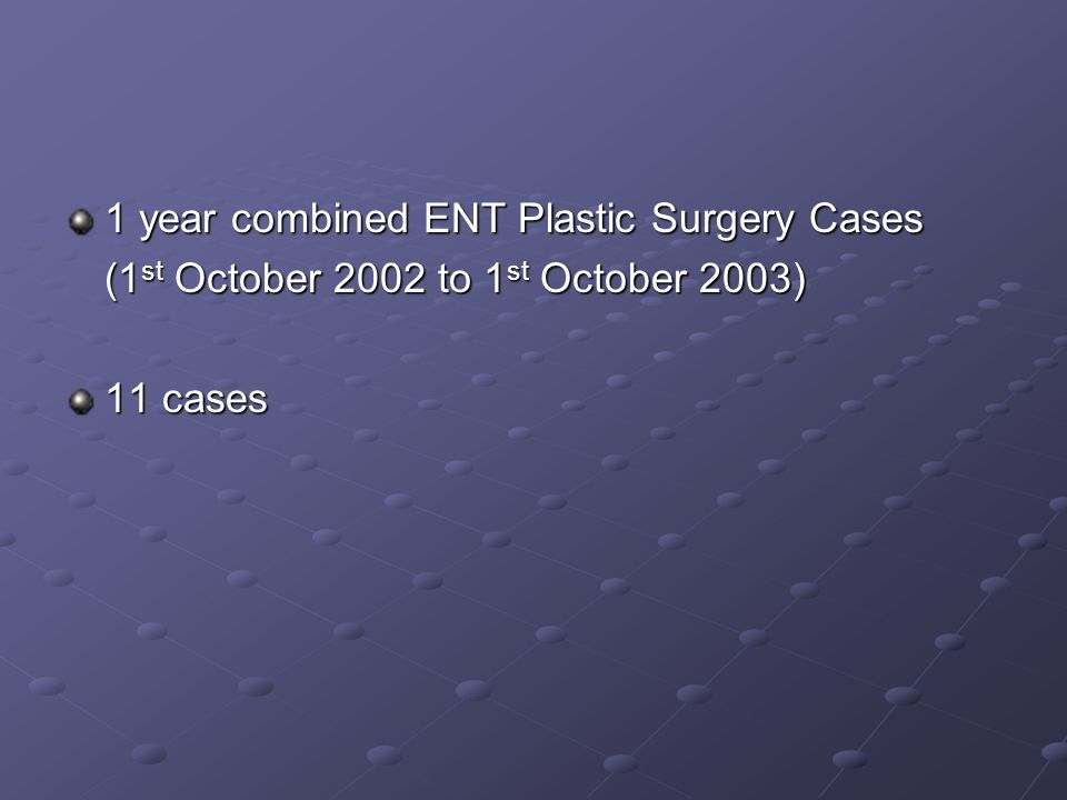 1 year combined ENT Plastic Surgery Cases
