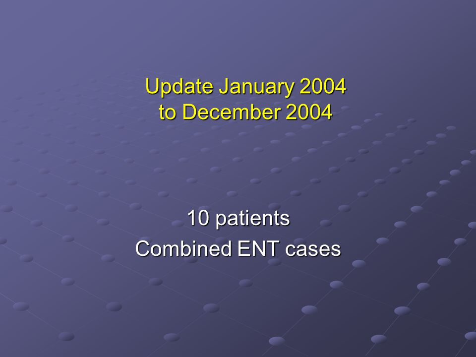 Update January 2004 to December 2004
