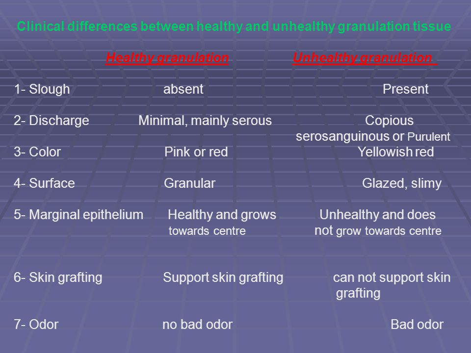 Clinical differences between healthy and unhealthy granulation tissue