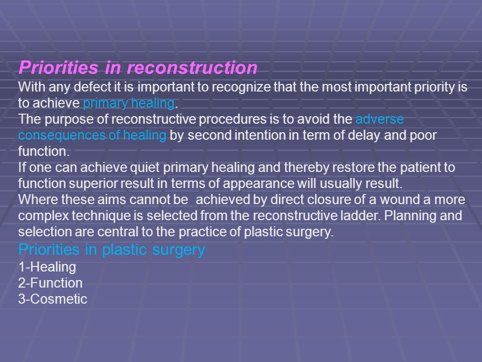 Priorities in reconstruction