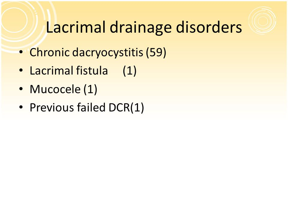Lacrimal drainage disorders