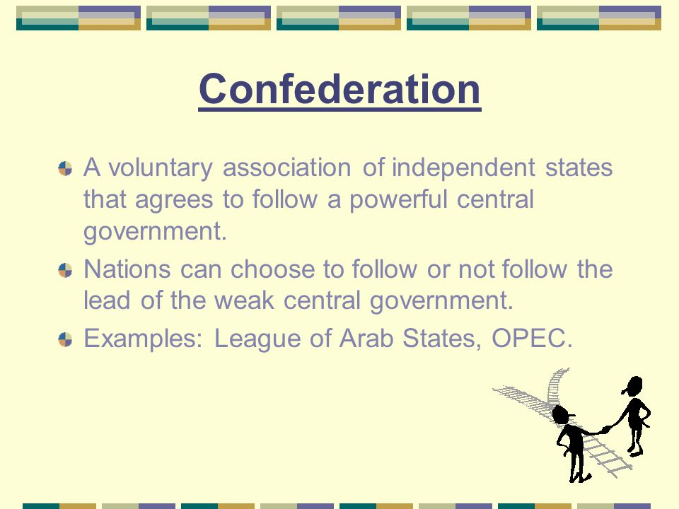 Confederation A voluntary association of independent states that agrees to follow a powerful central government.