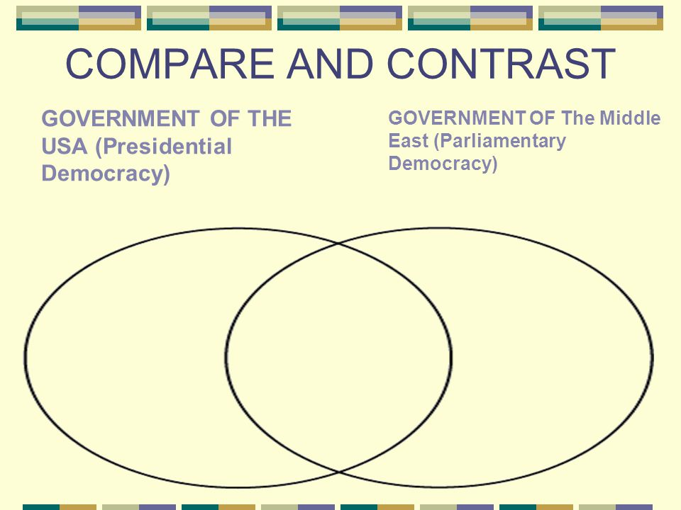 COMPARE AND CONTRAST GOVERNMENT OF THE USA (Presidential Democracy)