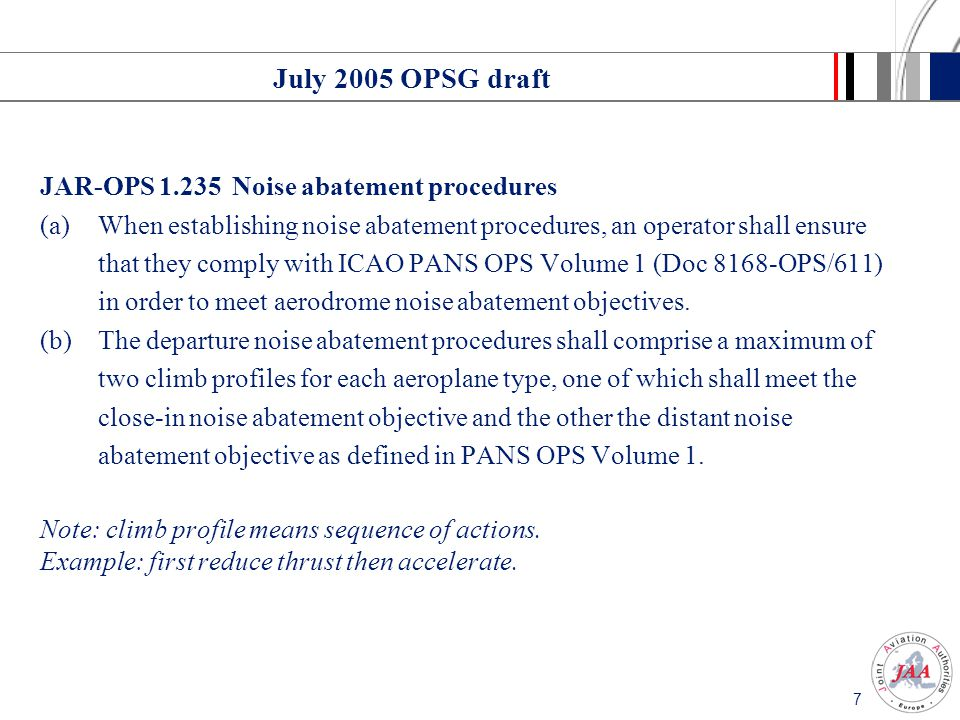 July 2005 OPSG draft JAR-OPS 1.235 Noise abatement procedures