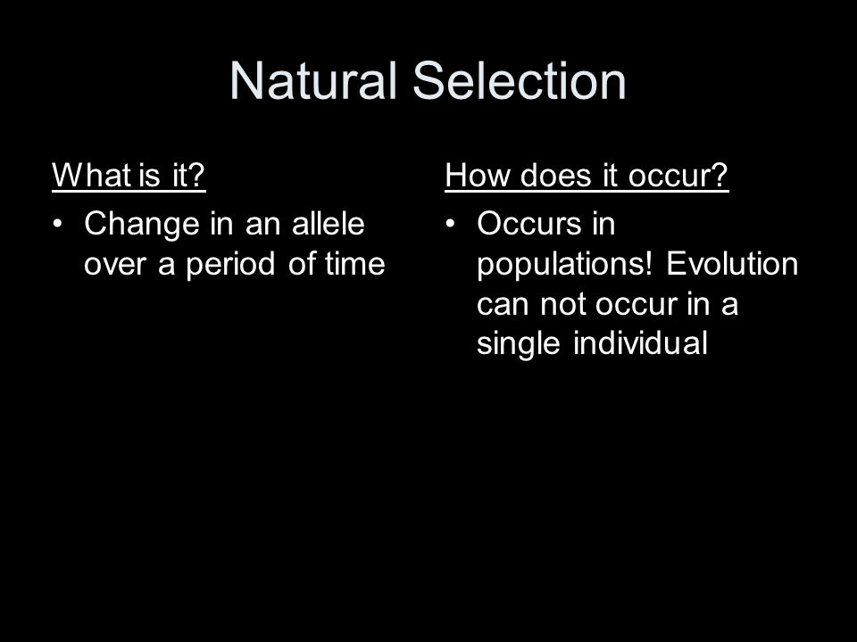 Natural Selection What is it