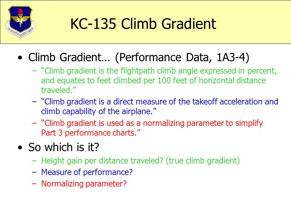 KC-135 Climb Gradient Climb Gradient… (Performance Data, 1A3-4)