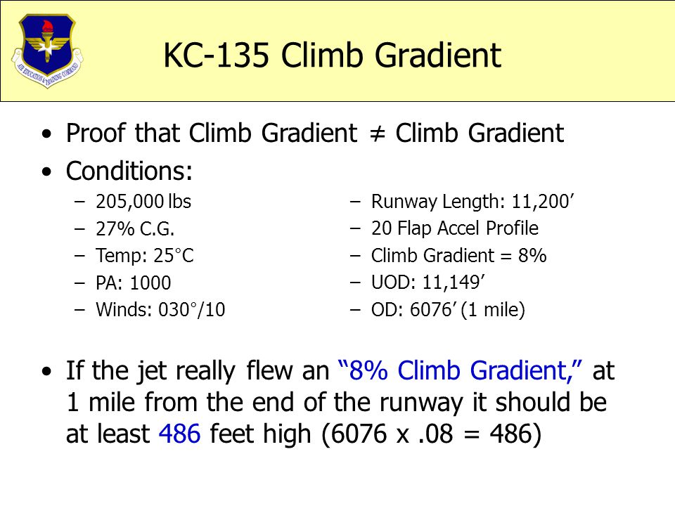 KC-135 Climb Gradient Proof that Climb Gradient ≠ Climb Gradient