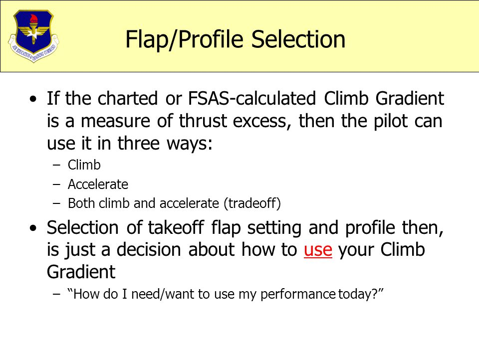Flap/Profile Selection