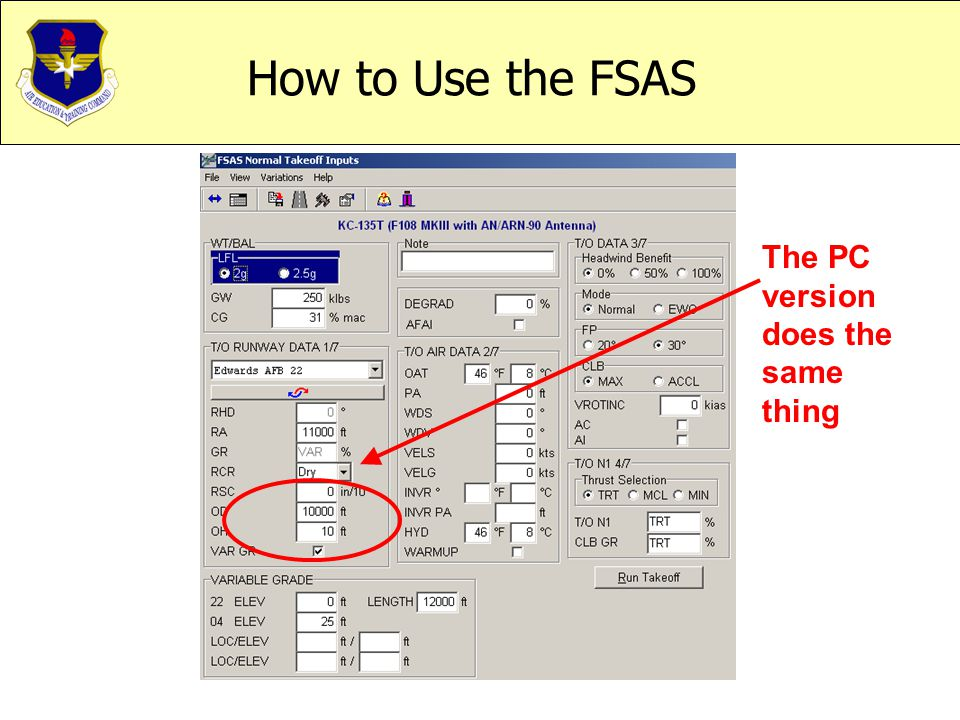 How to Use the FSAS The PC version does the same thing