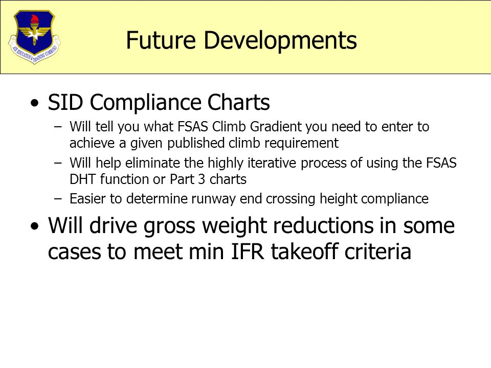 Future Developments SID Compliance Charts