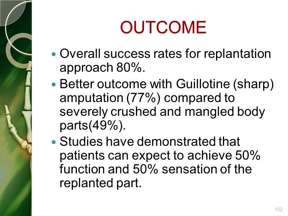 OUTCOME Overall success rates for replantation approach 80%.
