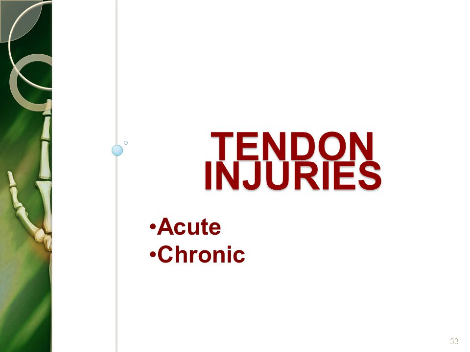 Tendon injuries Acute Chronic