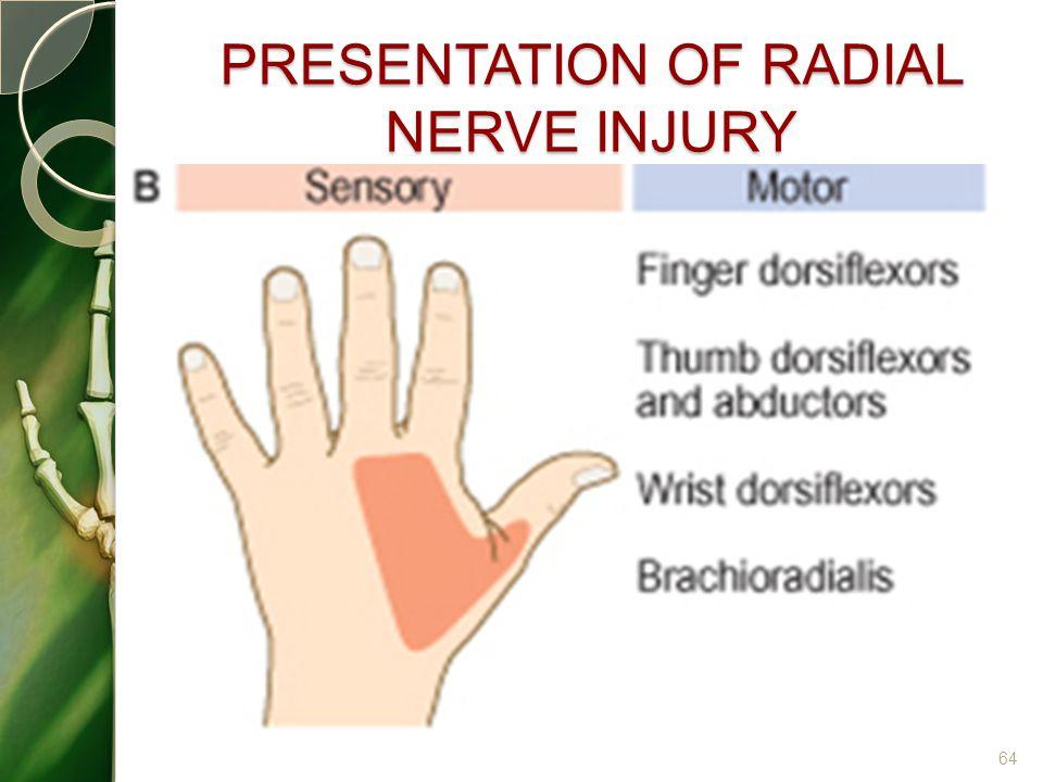 PRESENTATION OF RADIAL NERVE INJURY