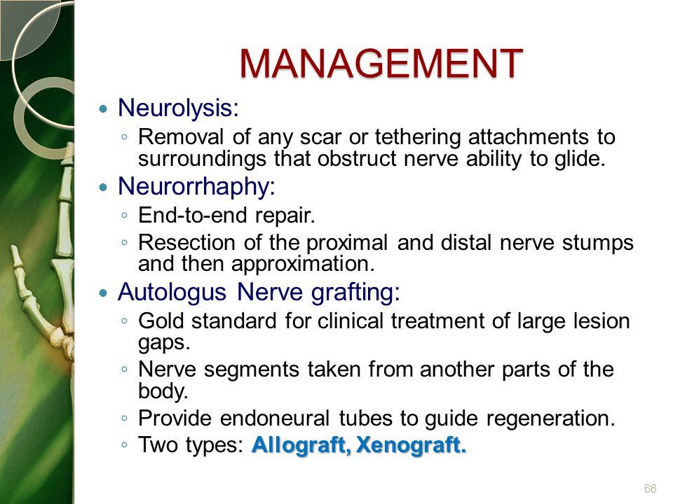 MANAGEMENT Neurolysis: Neurorrhaphy: Autologus Nerve grafting: