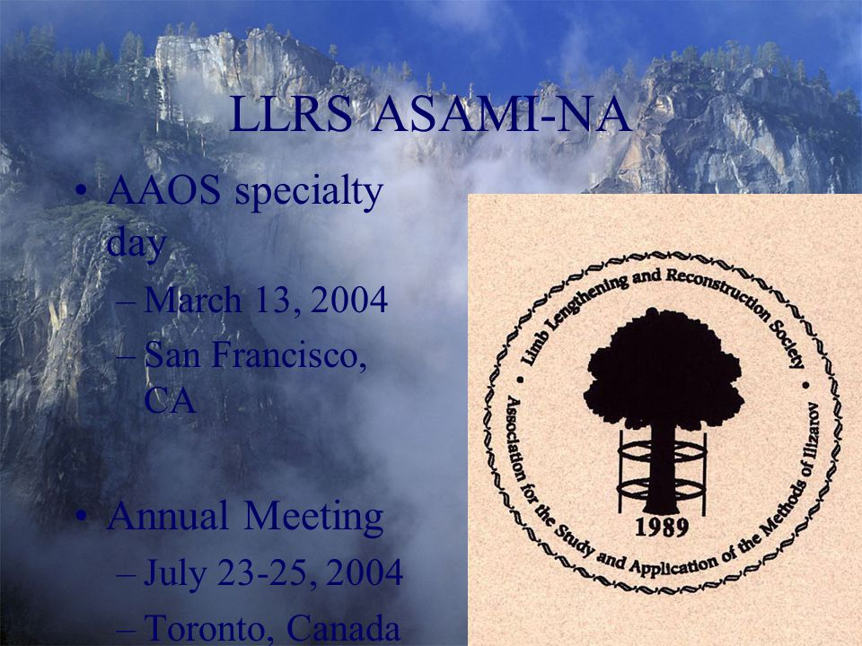 LLRS ASAMI-NA AAOS specialty day Annual Meeting March 13, 2004