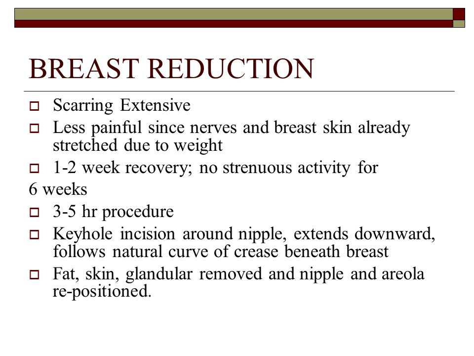 BREAST REDUCTION Scarring Extensive