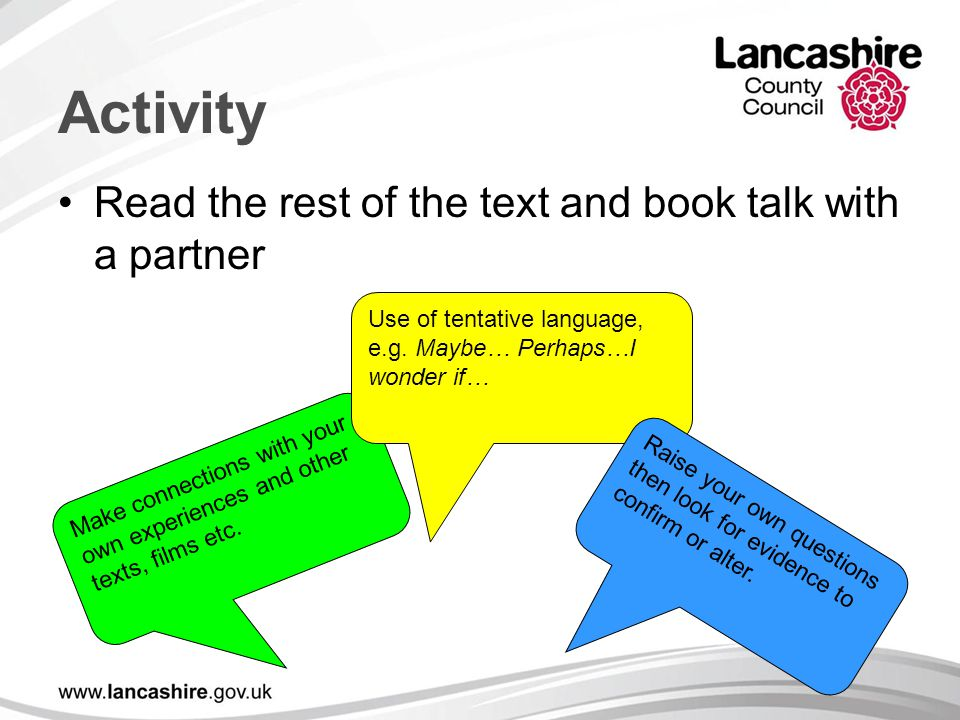 Activity Read the rest of the text and book talk with a partner